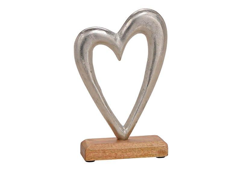 Herz aus Metall/Mango Holz Silber, braun (B/H/T) 14x21x5cm