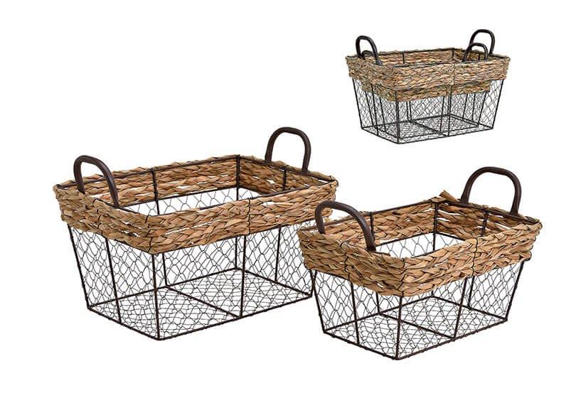 Basket set, metall, corn leaves,  weave, brown, set of 2 (B/H/T) 38x25x26cm