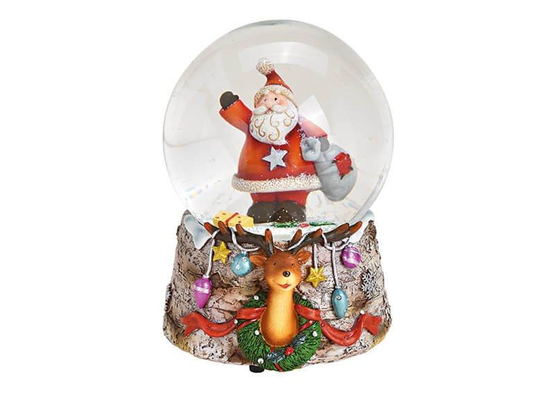 Spieluhr Schneekugel Nikolaus aus Poly, Glas Bunt (B/H/T) 10x14x11cm