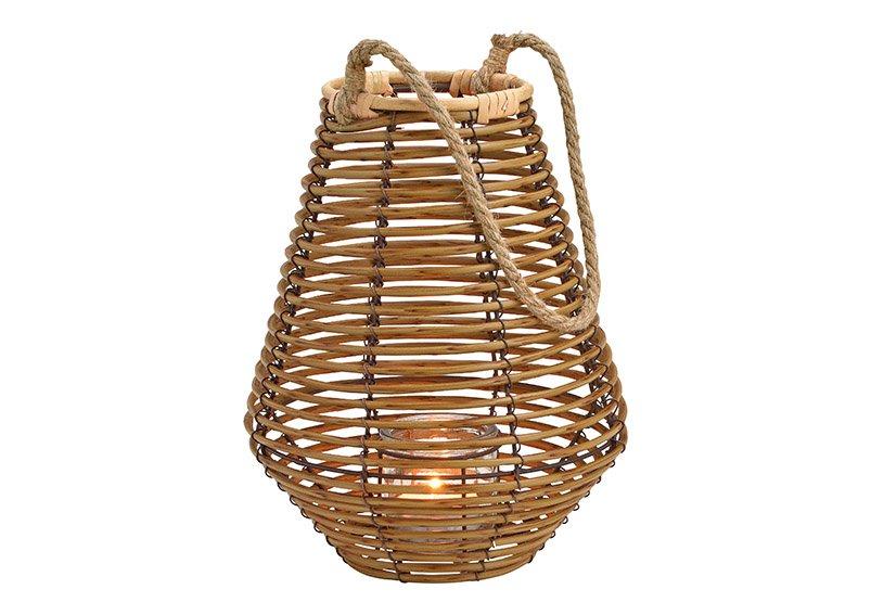 Lantern made of plastic, glass, metal brown (w / h / d) 23x33x23cm