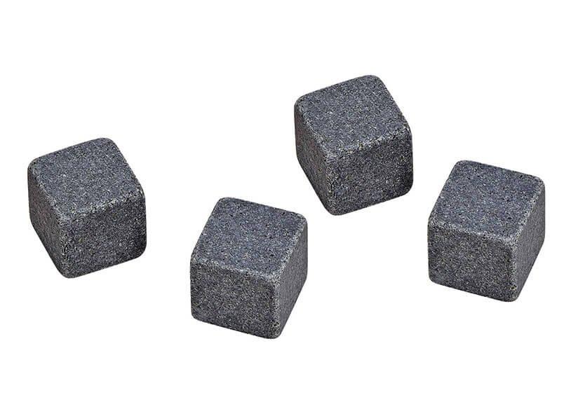 Whisky Stein Set, Eiswüfel aus Basalt Stein, 2cm, 8 Würfel mit 4 Gläser 9x8x9cm 300ml, 26,6x11,5x23,6cm