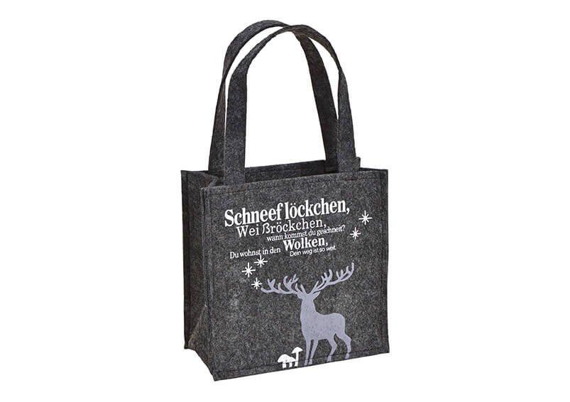 Tasche Hirsch Dekor aus Filz Grau (B/H/T) 20x20x9cm