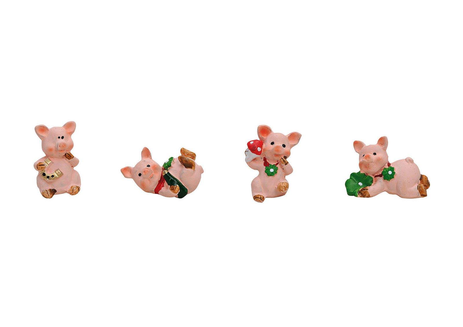 LUCKY PIG MINI POLYRESIN 4-ASS .2.5CM
