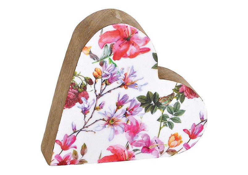 Aufsteller Herz Blumen Dekor aus Mangoholz Bunt (B/H/T) 15x15x4cm