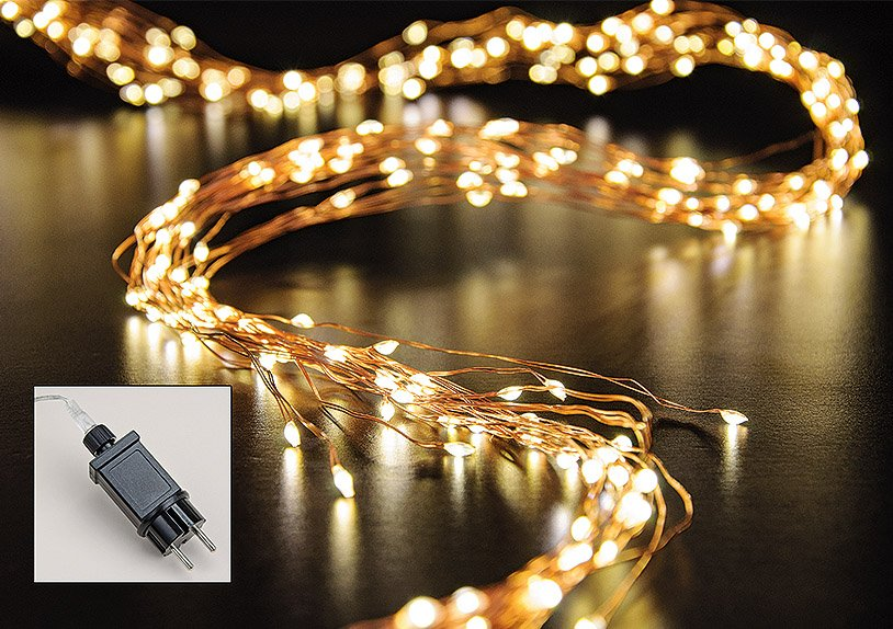 Lichterkette Draht, mit Timer, 350er Micro-LED Kupferdraht