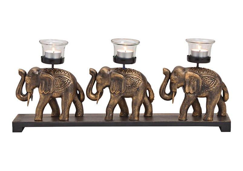 Tealight holder elefant 3-set wood, glass, black/gold 48x20x7cm