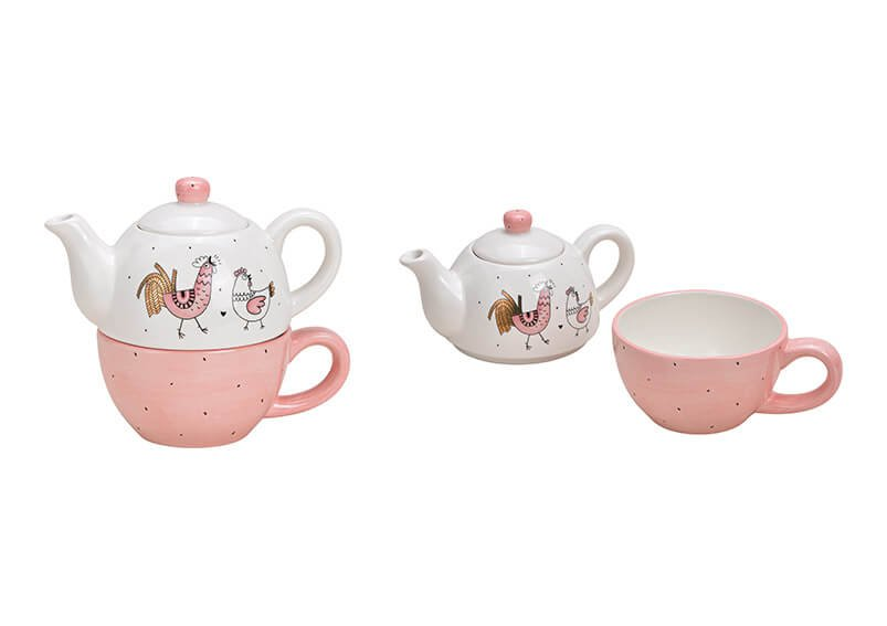 Teekannen Set Hahn Huhn Dekor aus Keramik Pink/Rosa, gold 2er Set, (B/H/T) 19x16x11cm 450/375ml