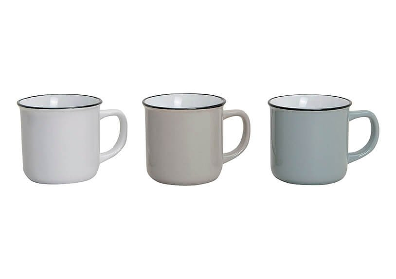 Becher weiß/grau/braun aus Keramik, 3-fach sortiert, 8 cm, 300 ml