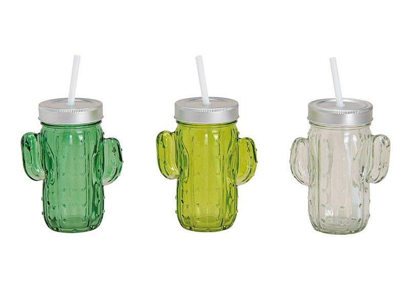 Trinkglas Kaktus mit Strohhalmdeckel aus Glas, 350 ml, 3-fach sortiert, (B/H/T) 11x14x7cm