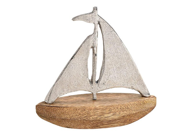 Segelboot aus Metal, Mangoholz Silber, braun (B/H/T) 17x17x6cm
