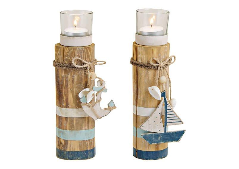 Tealightholder, maritim, white, blue, made of wood, metal, 2 asst. (B/H/T) 6x20x6cm
