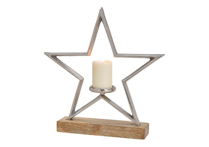 Candleholder star metal mangowood base silver, 42x43x8cm