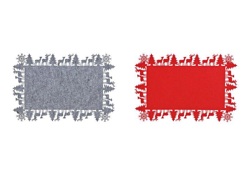 Platzset Winterwald, Elch Dekor aus Filz Rot, grau 2-fach, (B/H) 44x30cm