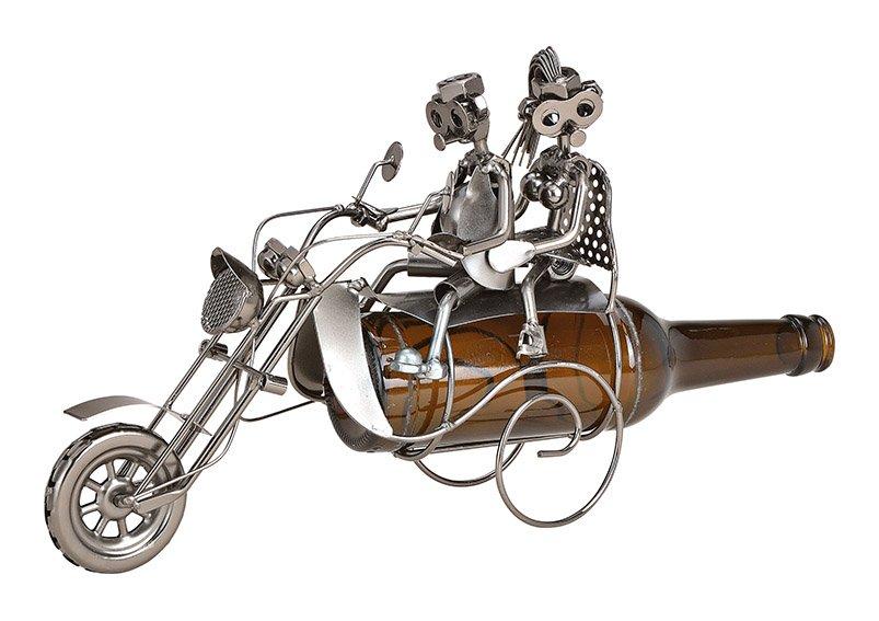 Flaschenhalter für Bierflasche Paar auf Motorrad aus Metall (B/H/T) 26x20x10cm