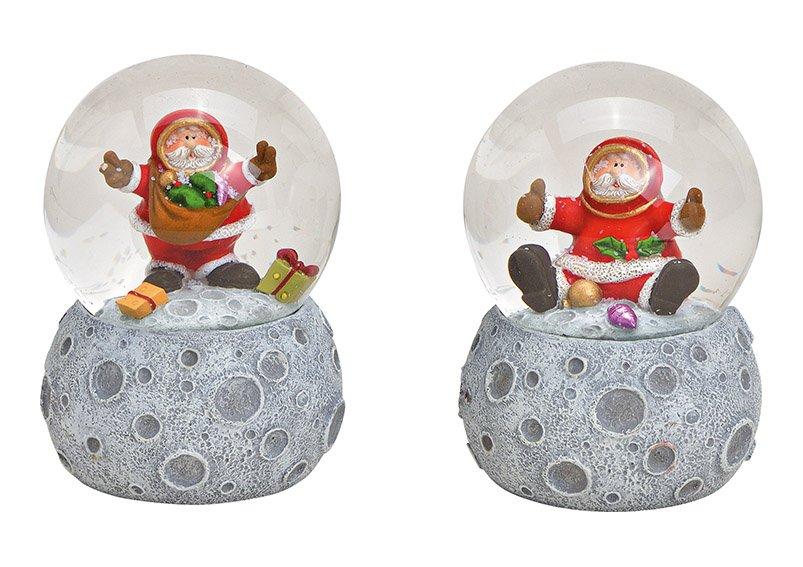 Schneekugel Nikolaus, auf Mond Sockel aus Poly, Glas Bunt 2-fach, (B/H/T) 7x10x7cm