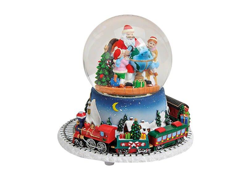 Spieluhr/Schneekugel Zug aus Poly/Glas, Nikolaus im Kugel , B16 x T14 cm