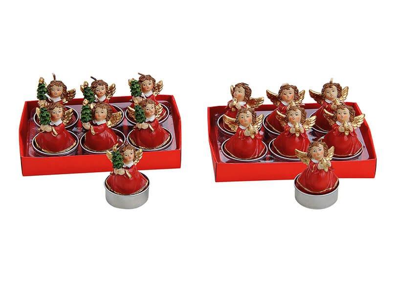 Tealight-set 6part angel red 2-ass.4x6cm