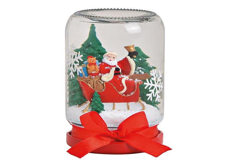 Schneekugel Weckglasform Weihnachtsmann aus Glas Bunt (B/H/T) 7x9x7cm