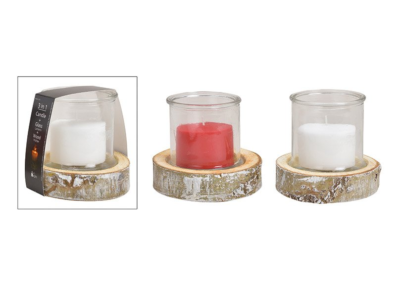 Windlight set,3 in one, glass 13x13cm wooden base, 16x4x16cm, candle 8.8x6cm made of glass white, red set of 3, 2 asst, (w / h / d) 15x16x15cm