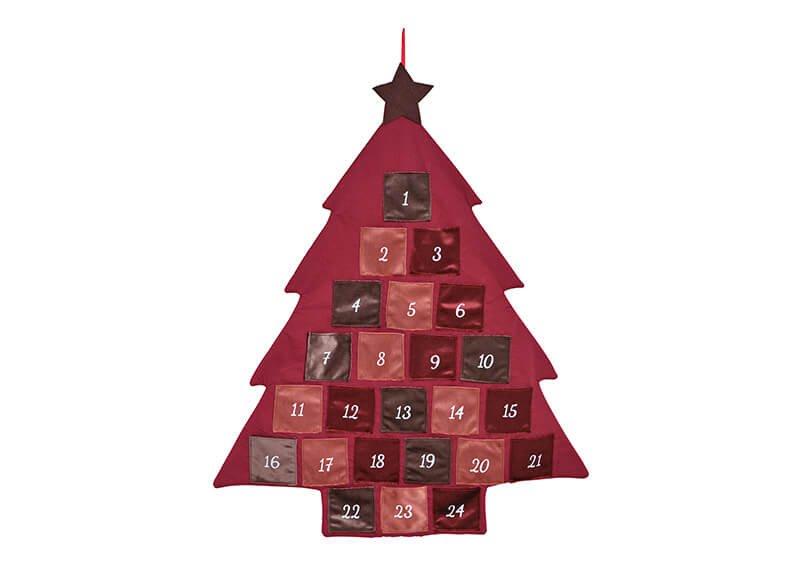 Adventskalender Tannenbaum  aus Textil Bordeaux (B/H/T) 73x89x1cm