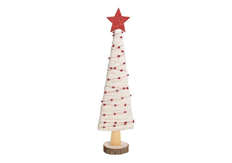 Aufsteller Tannenbaum aus Holz, Wolle Weiß (B/H/T) 12x47x8cm