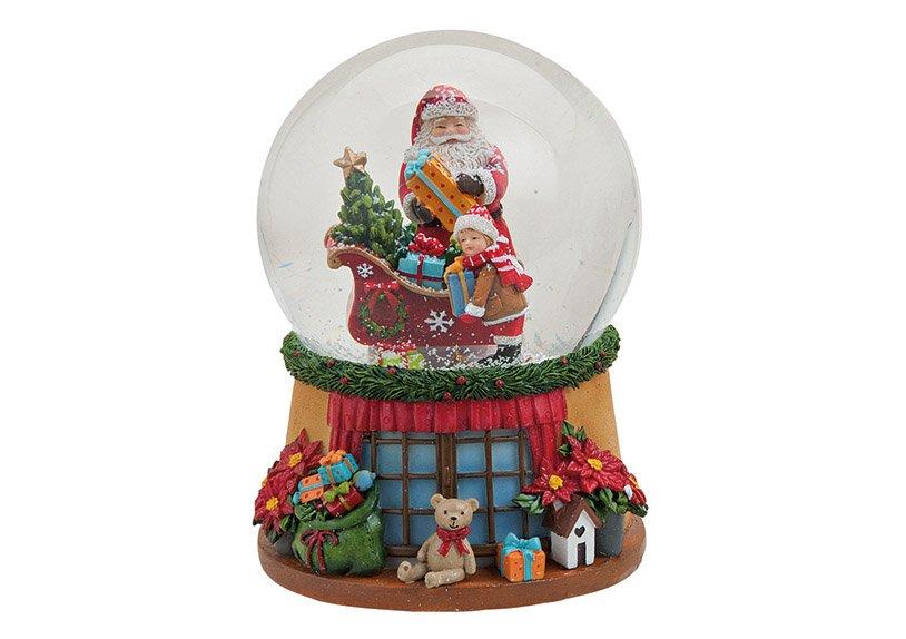 Spieluhr/Schneekugel Nikolaus aus Poly/Glas, B14 x T10 cm