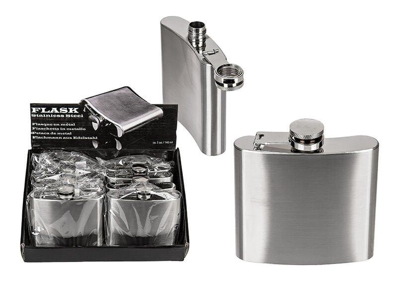Flachmann für ca 140ml aus Metall Silber (B/H) 10x9cm, 8 Stk. im Display