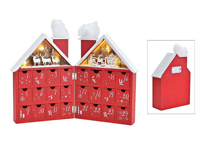 Adventskalender Haus mit LED Beleuchtung aus Holz Rot (B/H/T) 42x30x4cm
