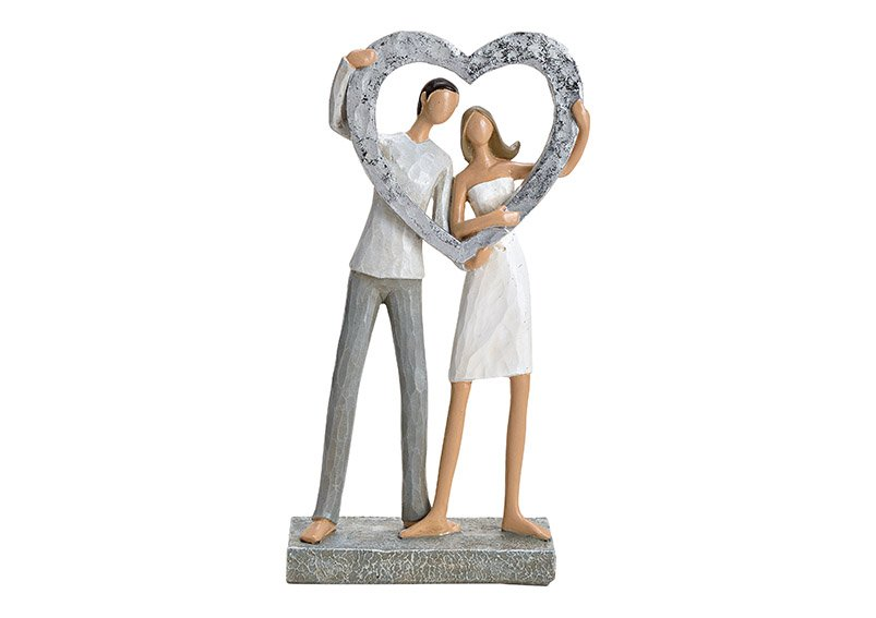 Loving couple with heart poly silver, 15x27x6cm