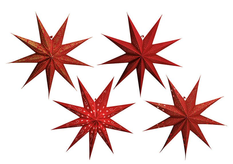 Star glowing paperboard red 9 jags 4-ass. 60cm}