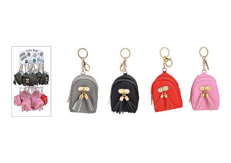 Schlüsselanhänger Rucksack aus Kunststoff Bunt 4-fach, schwarz, rot, pink, grau (B/H/T) 8x10x5cm, 60 stk. auf Display