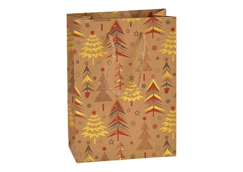 Giftbag winterforest paper/cardboard brown 11x16x6cm
