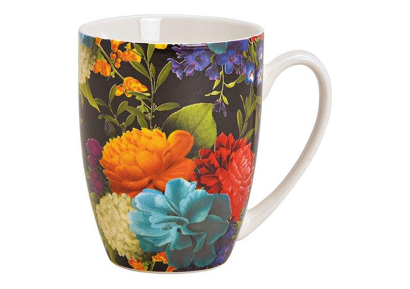 Becher Blumendekor aus Porzellan Bunt (B/H/T) 12x10x8cm 370ml