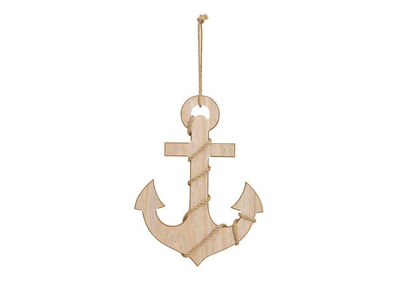 Hänger Anker Maritim aus Holz Braun (B/H/T) 30x21x1cm