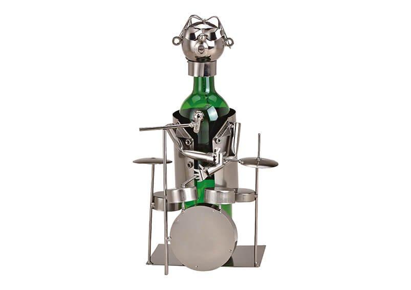 Flaschenhalter für Weinflasche Schlagzeuger aus Metall Schwarz (B/H/T) 18x23x15cm