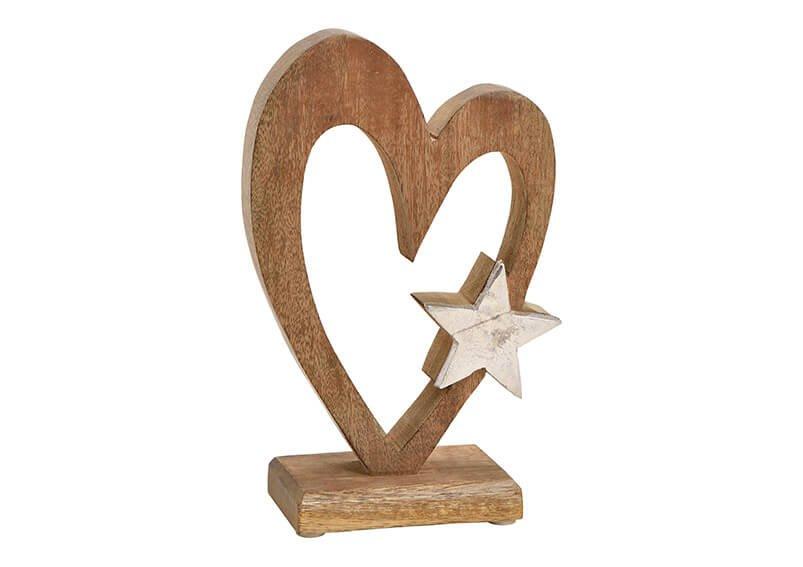Heart with metal star dekor, mango wood, brown, 13x22x6cm
