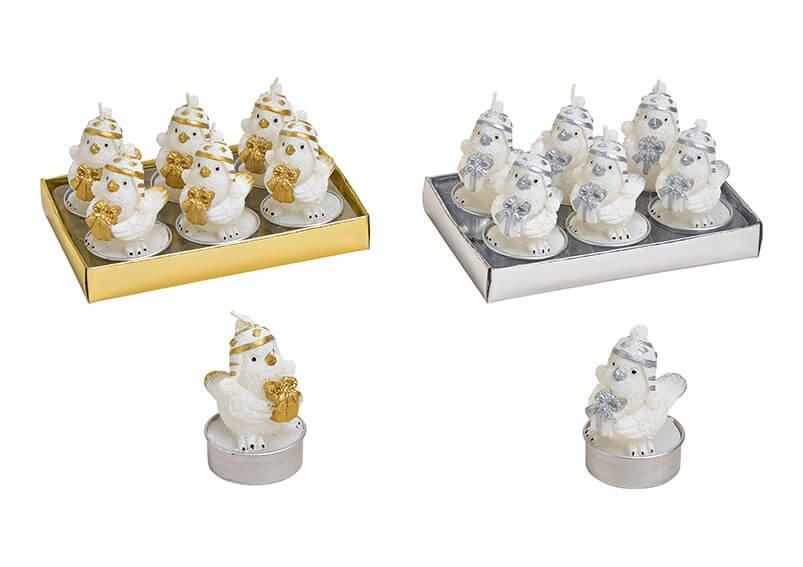 Tealight set birs 4x6cm wax white set of 6, 2-ass, 13x7x9cm