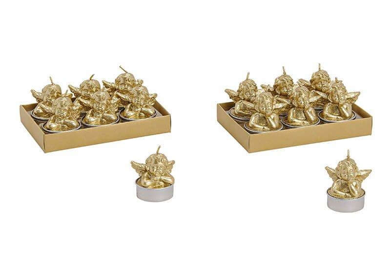 Tealight set of 6, angel, gold color, 2 asst.  4x5x4cm