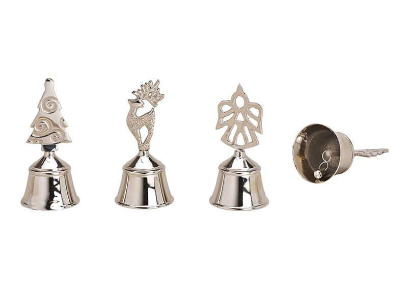 Glocke, Tischglocke Tannenbaum, Engel, Hirsch aus Metall Silber 3-fach, (H) 12cm Ø5,5cm