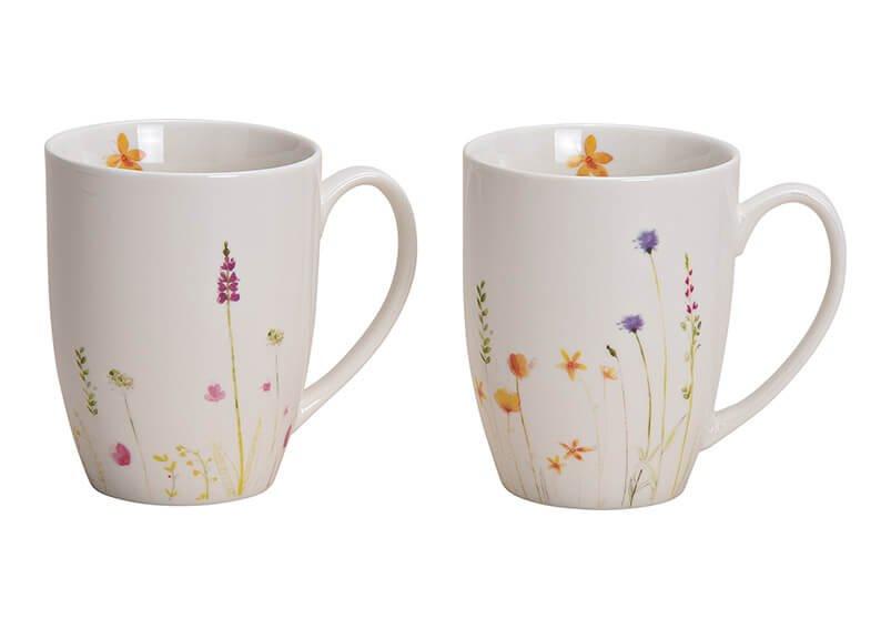 Mug Lavender, porcelain, white, 2 assorted, (W/H/D) 11x10x8cm 340ml