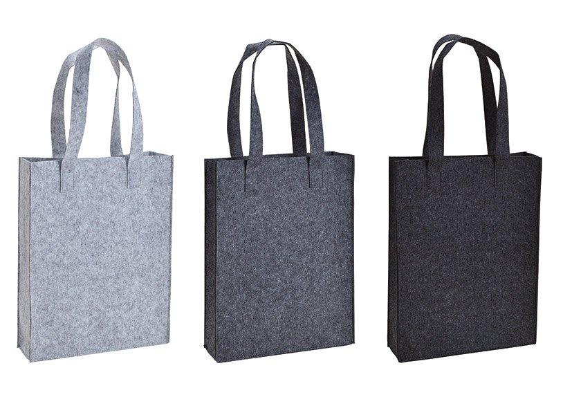 Tasche mit Henkel aus Filz Grau 3-fach, (B/H/T) 30x40x9cm