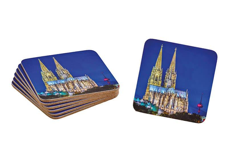 Coaster set of 6, cologne, mdf,  10x10cm