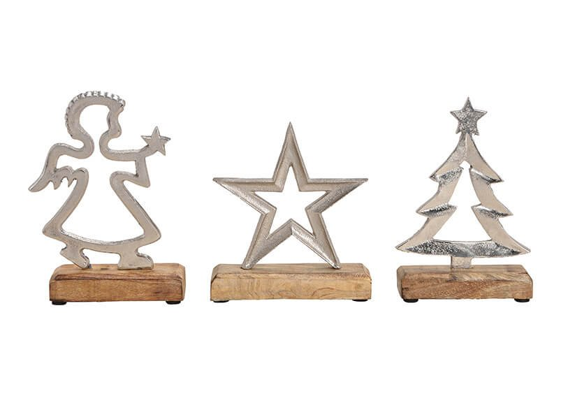 Star, tree, angel, metal mangowood, silver (h) 20cm