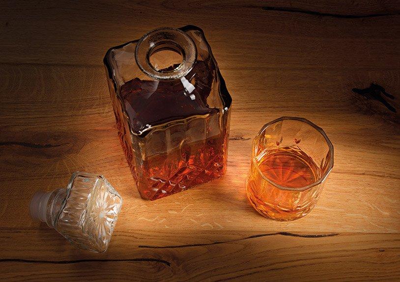 Whisky Set aus Glas 5er Set, Flasche 1l + Gläser 285ml, (B/H/T) 26x21x10cm