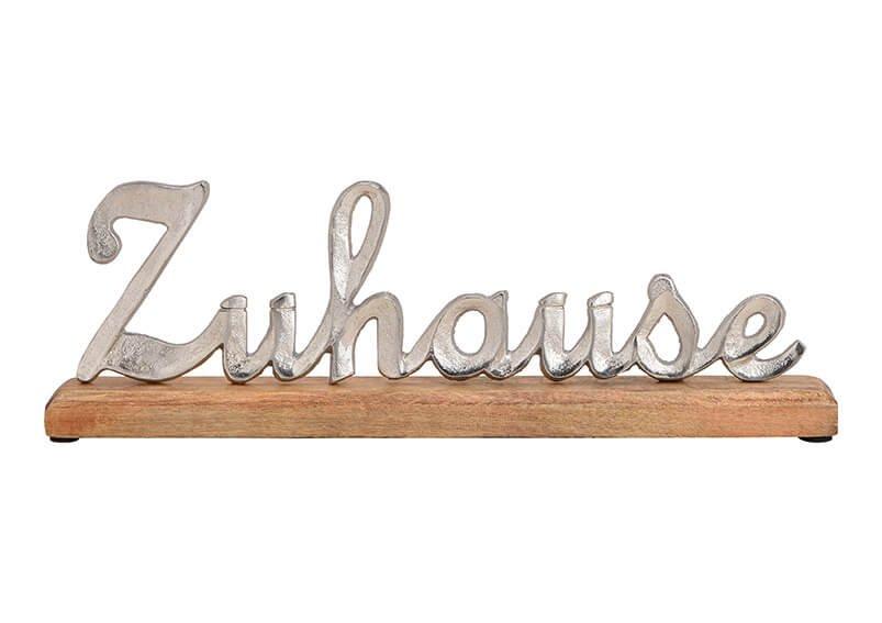 Aufsteller Schrifzug Zuhause aus Metall Mangoholz Silber (B/H/T) 40x14x5cm