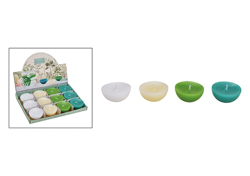 Floating candle white, green 4-way, (w / h / d) 6x3x6cm