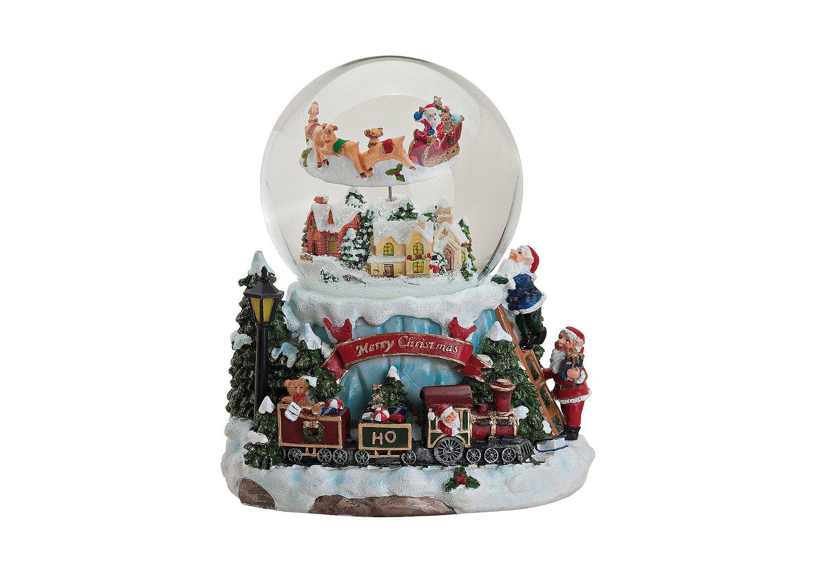 MUSIC BOX/SNOWGLOBE POLY/GLASS 19X17 CM}