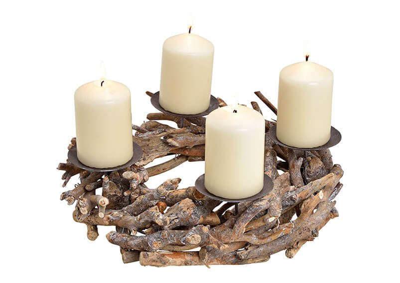 Candle holder, advent wreath, wood, metal, 30x8x30cm