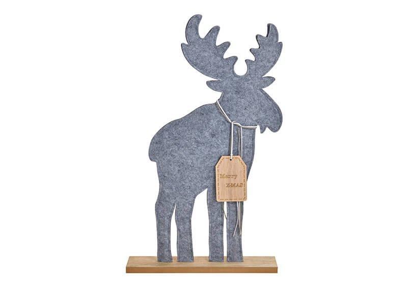 Elch Merry Christmas aus Filz Grau (B/H/T) 35x59x7cm