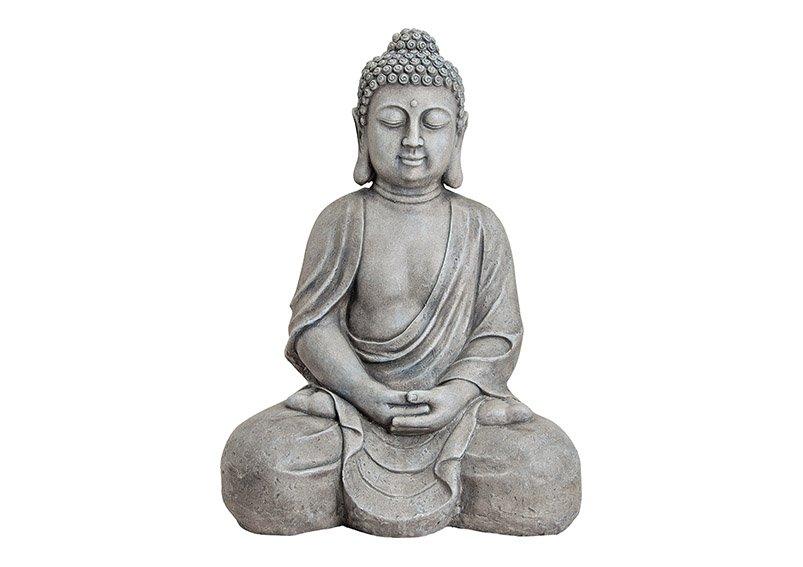Buddha in grau, Steinoptik, Polyresin, B49 x T34 x H71 cm